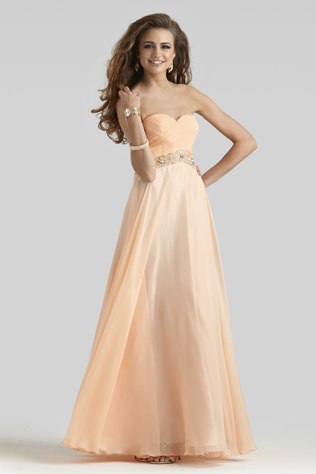 Clarisse 2014 Light Peach Strapless Sweetheart Open Back Long A ...