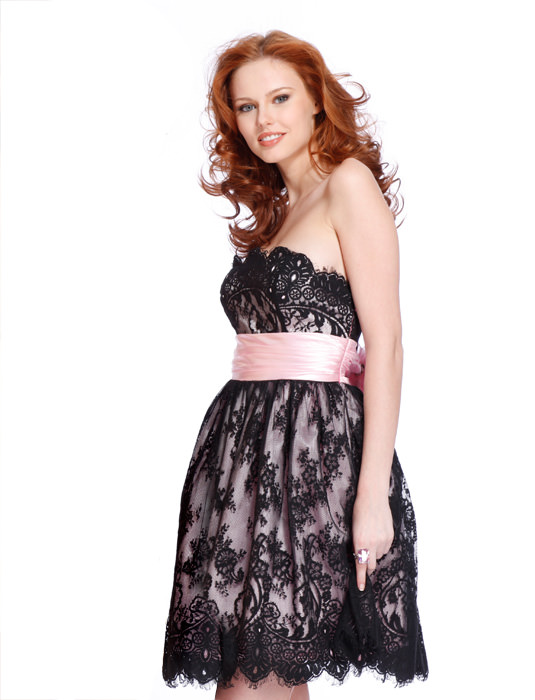 Black lace over pink satin short cocktail dress style Clarisse 1323A