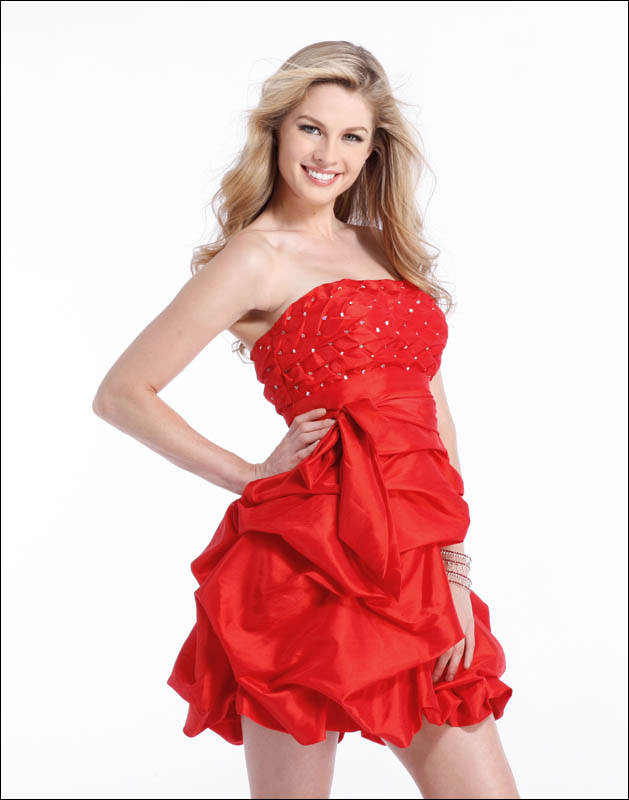 Red or white short cocktail prom dress Clarisse 1340