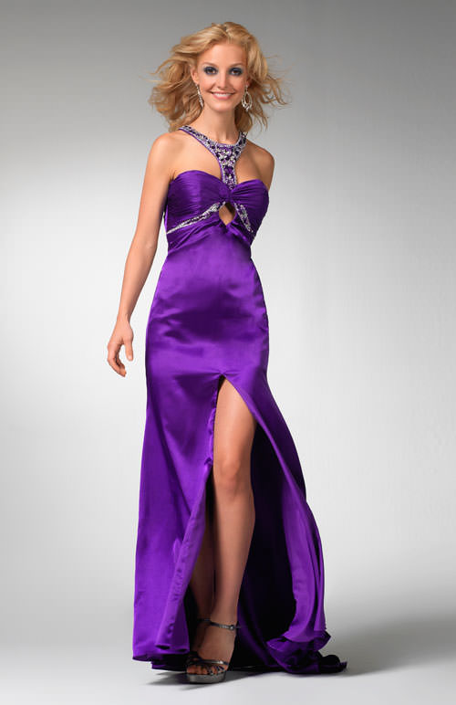 Clarisse Prom Dress 1555 Purple Formal Gown With Keyhole