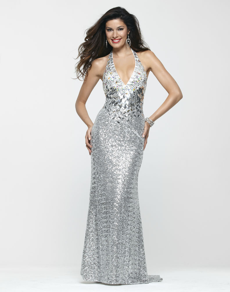 clarisse 2013 silver sequin halter open back prom gown