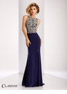 Clarisse Sparkling Navy Beaded Prom Dress 4842