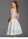 Clarisse White Damask Homecoming Dress 2910