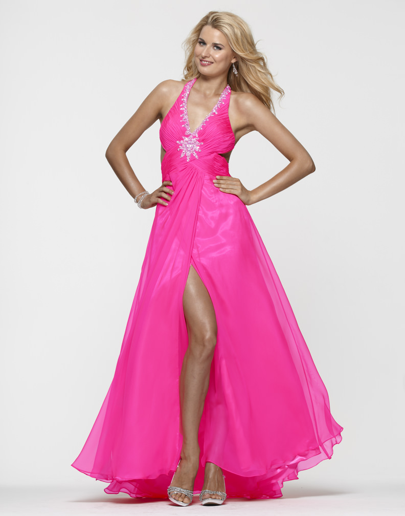 clarisse 2013 flamingo pink halter beaded cut out open
