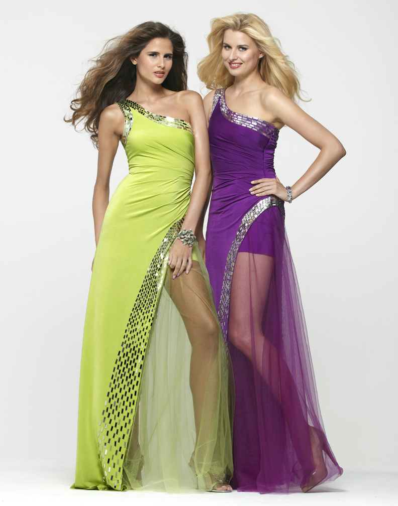 clarisse 2013 lime and purple one shoulder sequin stretch
