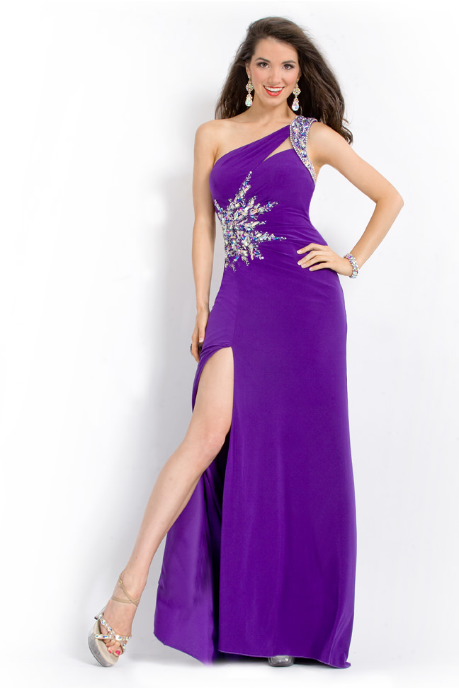 party time formals 2013 purple one shoulder stretch jersey