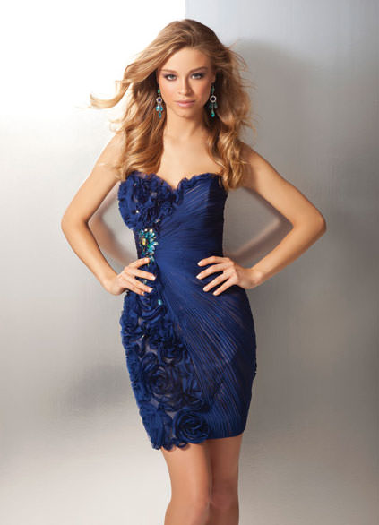 Pleated Chiffon Strapless 2012 Prom Dress in Midnight Navy or Ivory