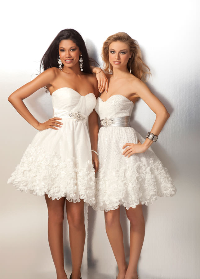Ivory or Clear Prom Dress 17103