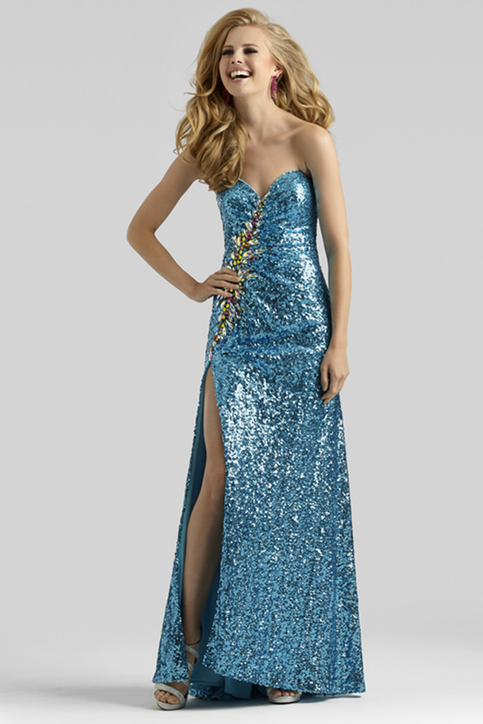 Clarisse 2014 Gold Turquoise Gunmetal Straless Sweetheart Sequin ...