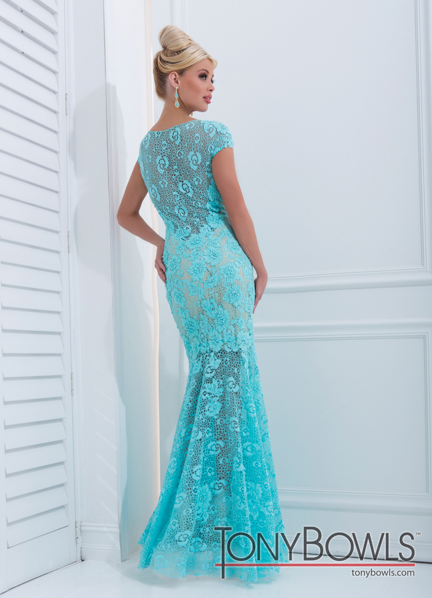 Tony Bowls 2014 Aqua Lace and Nude High Neck Mermaid Prom Gown ...