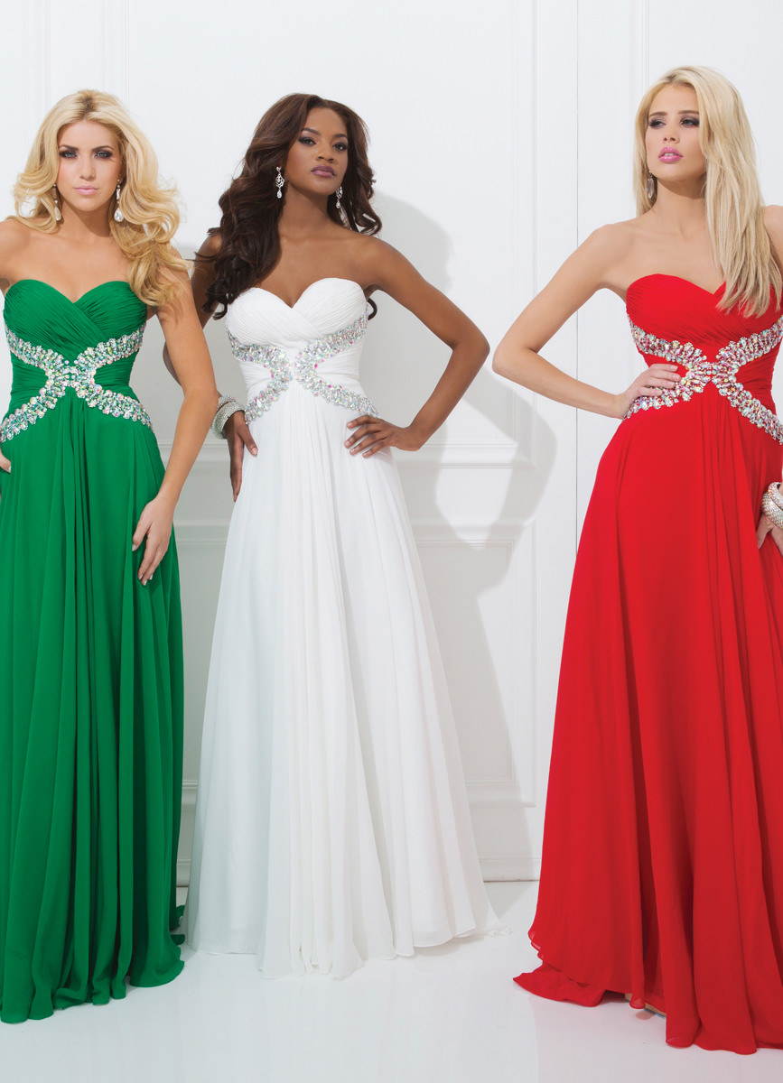 Tony Bowls 2014 Red Emerald Royal Blue Strapless ...