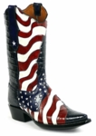 Ladies Handtooled Red, White and Blue USA Flag Boots HT-144