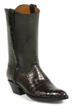 Mens Black Jack American Alligator Belly Chocolate Custom Boots #524BLK
