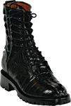 Mens Black Jack Boots Black Alligator Tail Safari Lace Up Combat Boots 141
