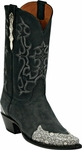 Mens Black Jack Boots Black Maddog Goat & Natural Ring Lizard Wingtip Leather Custom Boots 1425