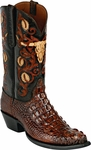 Mens Black Jack Boots Burnished Barnwood Hornback Alligator Custom Boots HT-152