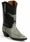 Mens Black Jack Boots Burnished Grey Full Quill Ostrich Custom Boots 294
