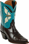 Mens Black Jack Boots Butterfly Inlay Goat Peewee Custom Boots 367