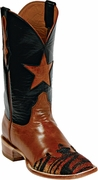 Mens Black Jack Boots Peanut Pull-Up Goat & Rust Tiger Stingray Wingtip Custom Boots 1428