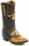 Mens Black Jack Boots Reversed Alligator Tail Burnished Tan Custom Boots 156