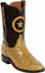 Mens Black Jack Boots Saddle Tan Full Quill Ostrich Custom Boots 224