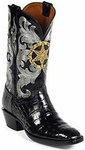 Mens Black Jack Boots Star Badge Black Belly Alligator Custom Boots HT-115