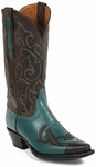 Mens Black Jack Boots Teal Green Buffalo Wingtips Custom Boots 1472