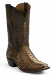 Mens Black Jack Ostrich Leg Brown Wood Custom Boot #266