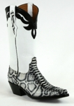 Mens Black Jack Python Snake Painted White/Black Custom Boots 627