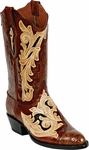 Mens BlackJack Boots Craftsman Hand Tooled Leather & Caiman Crocodile Custom Boots HT73