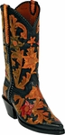 Mens Craftsman Flowers Hand Tooled Leather Custom Black Jack Boots C-44