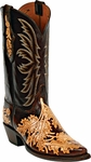 Mens Craftsman Hand Tooled Chocolate & Natural Leather Custom Black Jack Boots HT-15