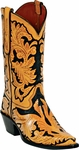 Mens Craftsman Hand Tooled Leather Custom Black Jack Boots HT-10