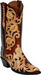 Mens Craftsman Hand Tooled Leather Custom Black Jack Boots HT71