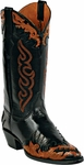 Mens Craftsman Hand Tooled Leather Wingtip Custom Black Jack Boots HT-81