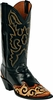 Mens Craftsman Hand Tooled Leather Wingtip Custom Black Jack Boots HT-83