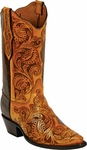 Mens Craftsman Hand Tooled Tan Leather Custom Black Jack Boots HT71