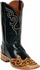 Mens Craftsman Hand Tooled Wingtip & Collar Custom Black Jack Boots HT-80