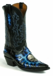 Mens Hand Tooled Leather 3D Skull Blue & Black HT-169