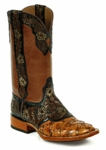 *NEW* Black Jack Handtooled Black, Natural, Antique Tan / Pirarucu Fish - Cognac Custom Boots HT-198