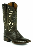 *NEW* Black Jack Handtooled Caiman Crocodile Belly - Chocolate Custom Boots HT-255