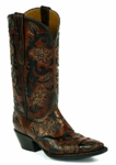 *NEW* Black Jack Handtooled Flowers-Cordovan / Goat-Black Custom Boots HT-301