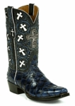 *NEW* Black Jack Handtooled Pirarucu Fish-Navy Custom Boots HT-302