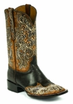 *NEW* Black Jack Handtooled  Vintage Cognac & Natural Goat Custom Boots HT-300