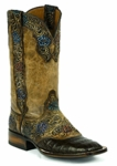 *NEW* Black Jack Handtooled Vintage Kango / Chocolate Caiman Belly Custom Boots HT-197
