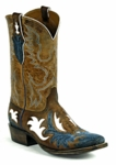 Black Jack Men's Handtooled Aguila Vintage Blue & Tobacco Goat Custom Boots HT-1401