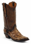 Black Jack Men's Handtooled Brown Brush-Off / Natural Custom Boots HTP-209