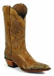 Black Jack Men's Handtooled Ranch Hand Burnished Cognac/Handtooled WingTip/HeelFoxing HTP-221