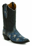 Black Jack Men's Handtooled Stars Vintage Amber Goat Custom Boot HT-1403