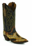 Black Jack Men's Handtooled with Studs Vintage Brown & Yellow Ranch Hand Chocolate Custom Boot HT-1406